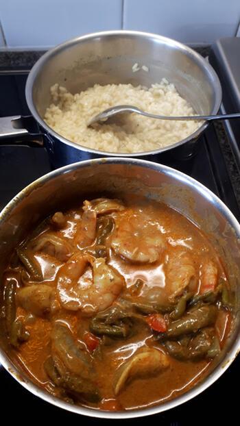 Rode curry met scampi en prinsesboontjes 5