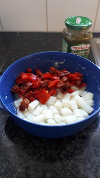 Vegetarische pasta met asperges, geroosterde paprika en groene pesto 6
