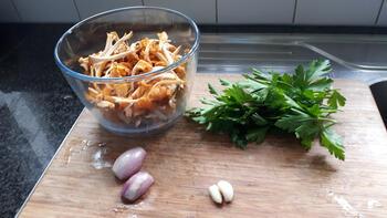 Vegetarische pasta (rigatoni) met cantharellen 4