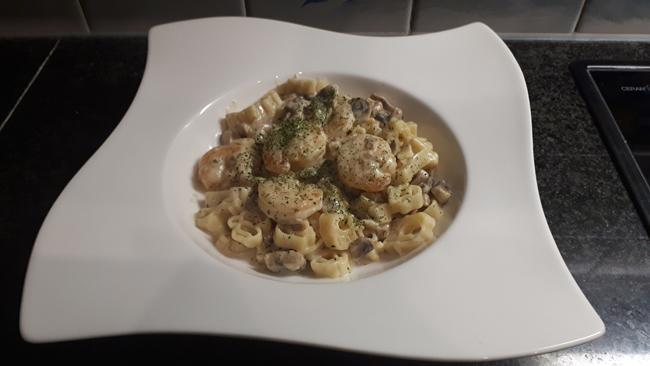 Pasta met scampi en champignons 1