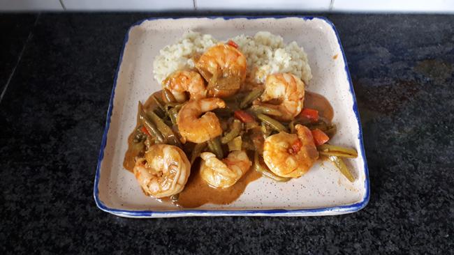 Rode curry met scampi en prinsesboontjes 1