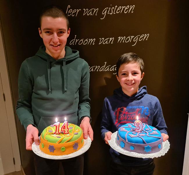 Verjaardagstaarten 2021 Maxim 14 jaar en Mathis 9 jaar 1